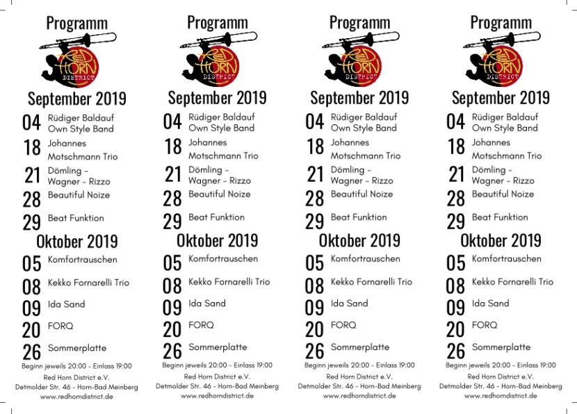 Red Horn District - Programm Sept-Okt-2019
