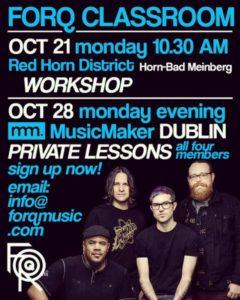Montag, 21. Okt. 2019: Band- & Einzel-Workshop mit FORQ