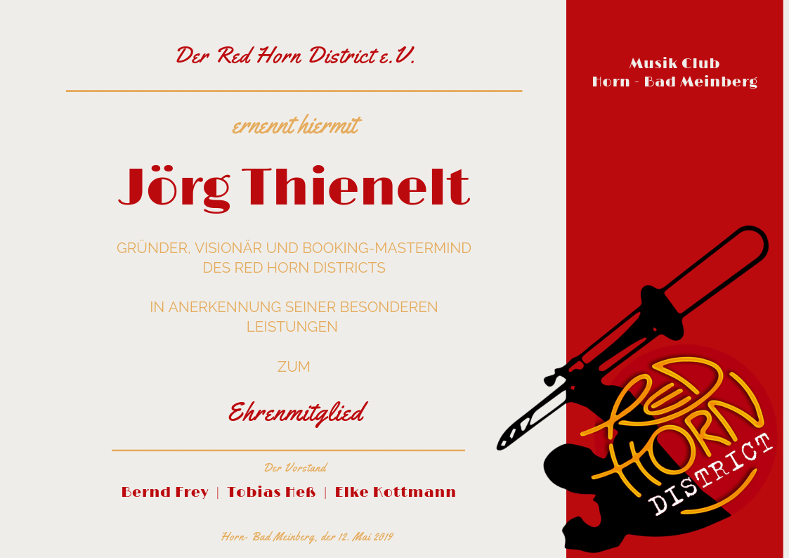 Ehrenmitglied Jörg Thienelt - Red Horn District e.V. 12.05.2019